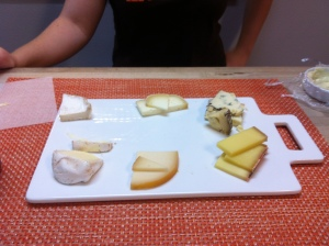 Here is an example of a cheese tasting.